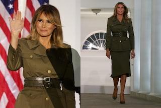 Melania Trump, look militare per il discorso dalla Casa Bianca: la scelta di stile indigna il web
