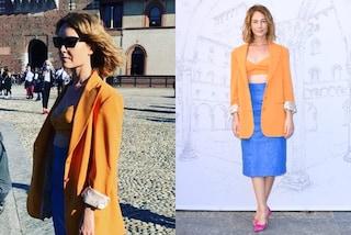 Cristiana Capotondi osa con il look color block: è lei la più originale alle sfilate milanesi