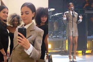 Elodie, il look da uomo diventa sexy: in camicia e cravatta sul palco ma la giacca è un mini abito