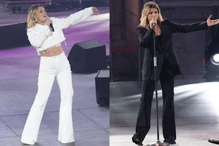Seat Music Awards, Emma Marrone in bianco e nero: i due look a contrasto ma sempre con i pantaloni