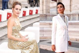 Laura Chiatti in oro, Caterina Balivo come 20 anni fa: è sfida di stile alla sfilata romana