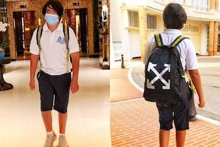 Nathan Falco torna a scuola griffato: zaino e scarpe del figlio della Gregoraci costano 2mila euro