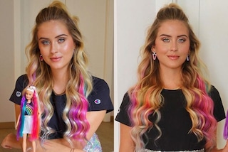 Valentina Ferragni cambia look: ora è una Barbie con i capelli arcobaleno