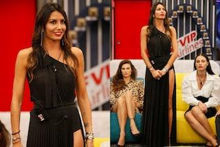 GF Vip 2020, Elisabetta Gregoraci nella puntata 13 in nero: indossa maxi spacco e rossetto rosso