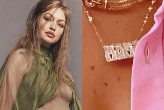 Gigi Hadid con la collana da mamma: celebra la nascita della figlia con oro e diamanti