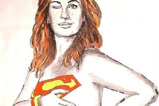 Vanessa Incontrada nuda nel murale a Firenze che la trasforma in una Supereroina