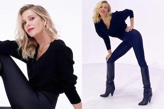 Alessia Marcuzzi a Le Iene, ripropone leggings e pull over ma in nero e con gli stivali da 900 euro