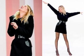 Alessia Marcuzzi a Le Iene in nero: ora i sandali si indossano anche in inverno con i collant
