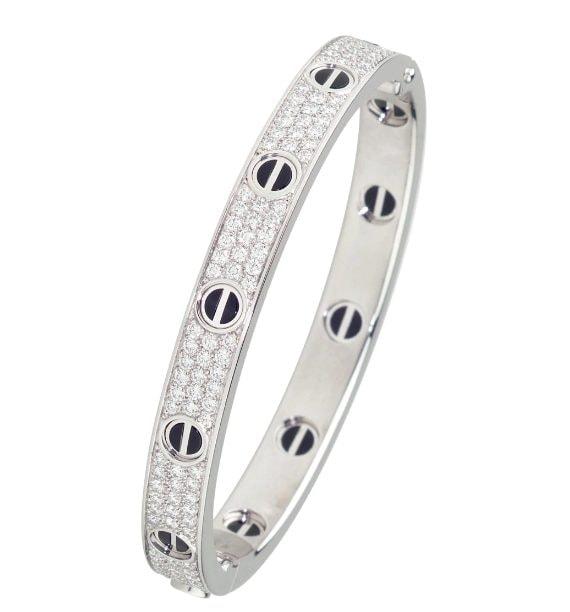 bracciale in oro bianco, diamanti e ceramica nera di Cartier