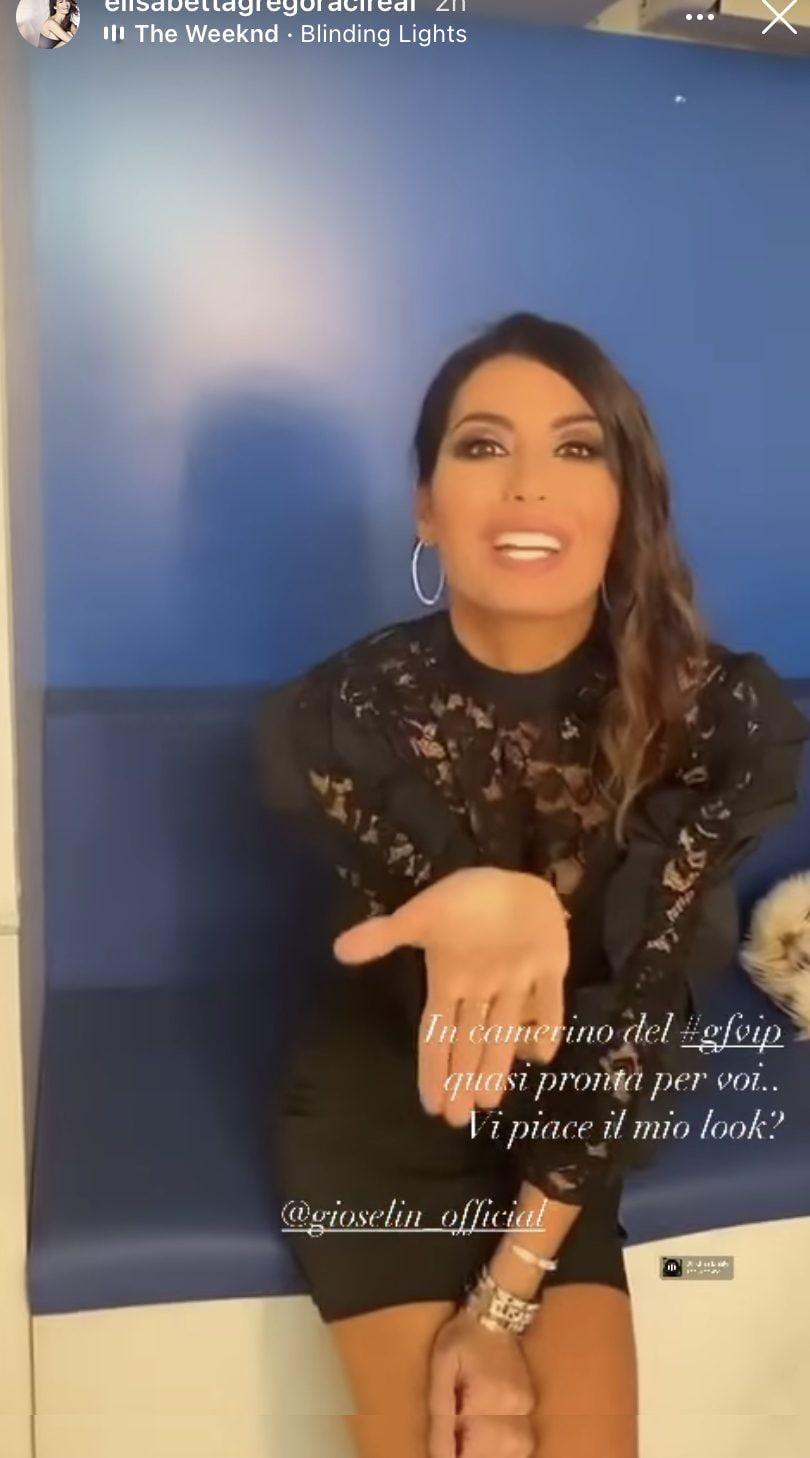 Uno screen dalle stories di Elisabetta in cui mostra il suo look prima dell'ingresso in studio