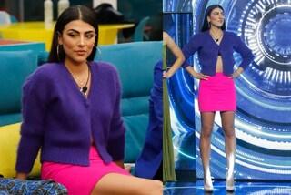 GF Vip 2020, Giulia Salemi in color block nella puntata 22: segue il trend del cardigan corto
