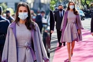 Letizia di Spagna è regina del riciclo: indossa lo stesso cappotto lilla per la quinta volta