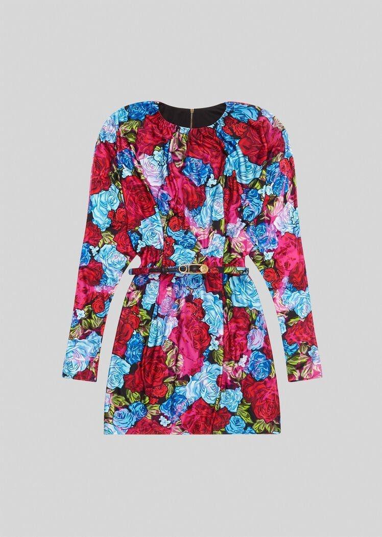 Il minidress Versace con stampa Tie–Dye Roses