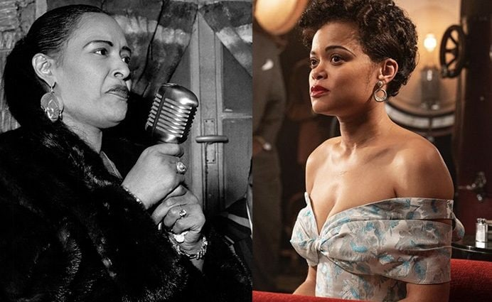 La cantante Billie Holiday e l'attrice Andra Day che la interpreta nel film