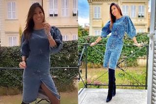 Elisabetta Gregoraci rilancia la moda total denim: il suo abito di jeans costa oltre 600 euro