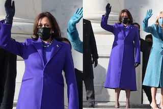 "Kamala Harris in viola all'Inauguration Day: per la prima volta da vicepresidente ""imita"" Jill Biden"