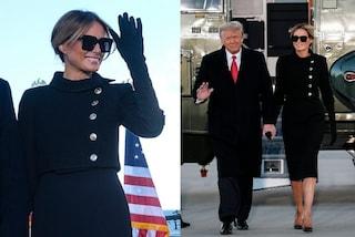Melania Trump saluta la Casa Bianca con il vestito da funerale e la borsa da oltre 55mila euro