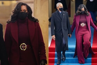 Michelle Obama regina di stile all'Inauguration Day: il look burgundy è da imitare nell'inverno 2021
