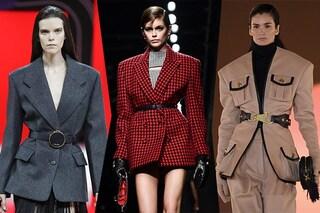 La cintura ora si porta sopra la giacca: il trend che spopola dalle passerelle alle celebrities