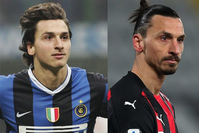 Zlatan Ibrahimovic nel 2006 (a sinistra) e nel 2021 (a destra)