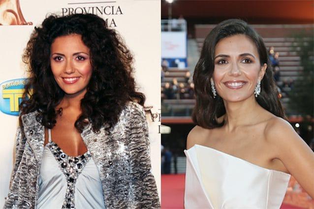 a sinistra Serena Rossi nel 2008, a destra nel 2019