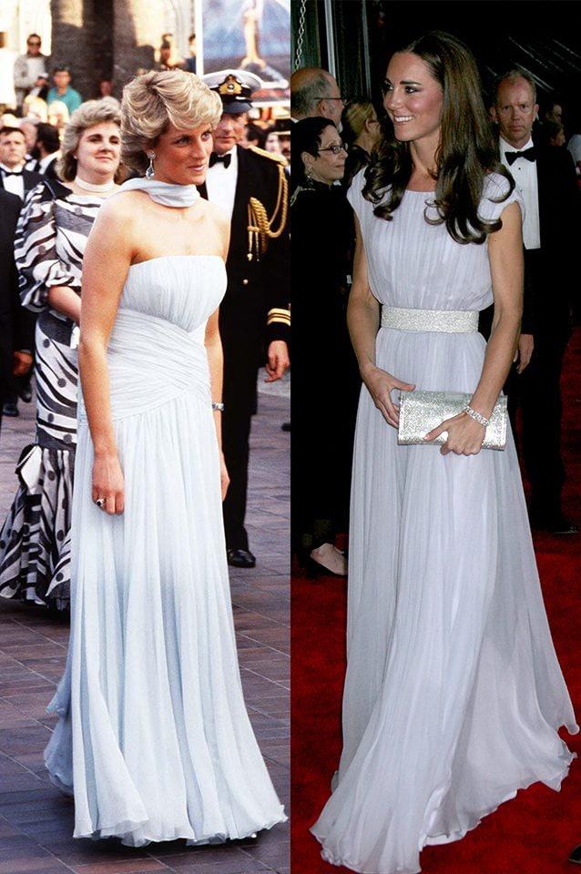 Diana nel 1987 e Kate nel 2011