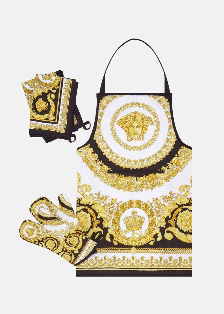 Versace, set da cucina con stampa barocca