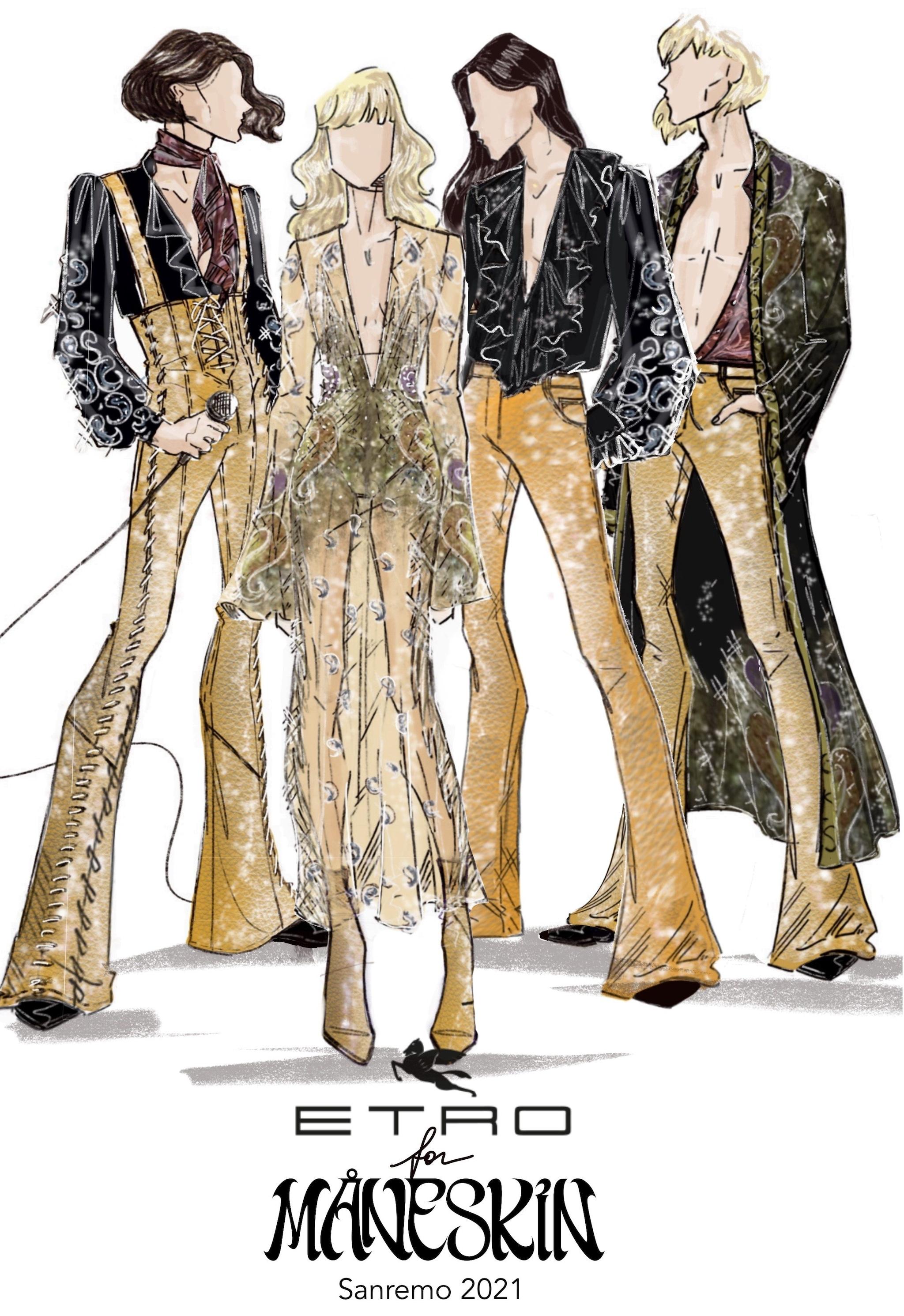 Il bozzetto dei look firmati Etro per i Maneskin