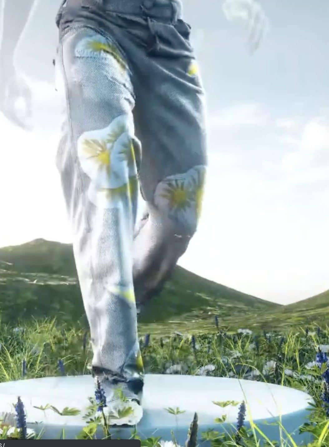 Rendering dei jeans virtuali Metaverse Denim
