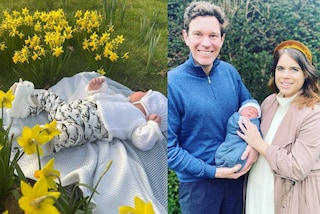 La nuova foto di baby August: il figlio della principessa Eugenie spopola con le pantofole-coniglio