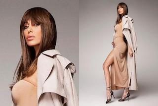 Belén Rodriguez, futura mamma con la frangia: mostra la pancia con abito nude e maxi spacco