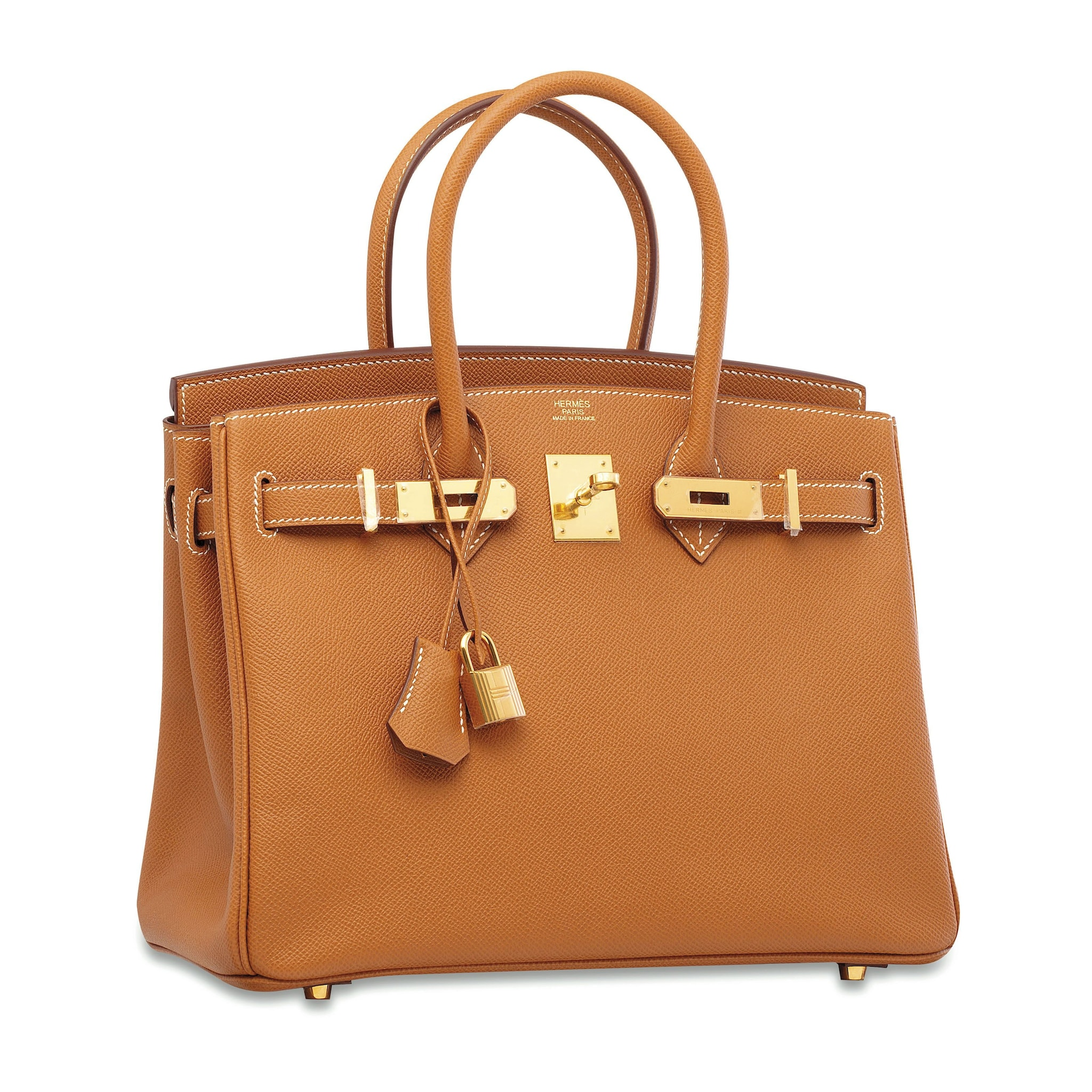 La Leather Camel 30 Birkin bag