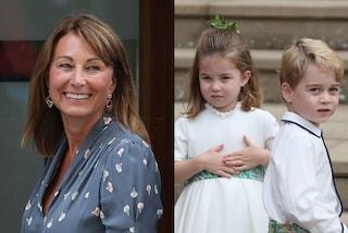 Carole Middleton nonna dinamica: con George, Charlotte e Louis corre e si arrampica sugli alberi