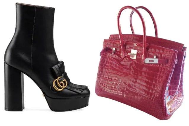 Stivali Gucci, firkin bag di Hermès