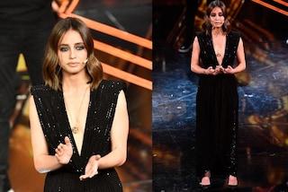 Matilde Gioli incanta a Sanremo 2021, sul palco in nero e con le paillettes è splendida