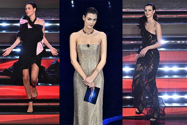 Vittoria Ceretti in Valentino Haute Couture, Giorgio Armani Privé, Atelier Versace