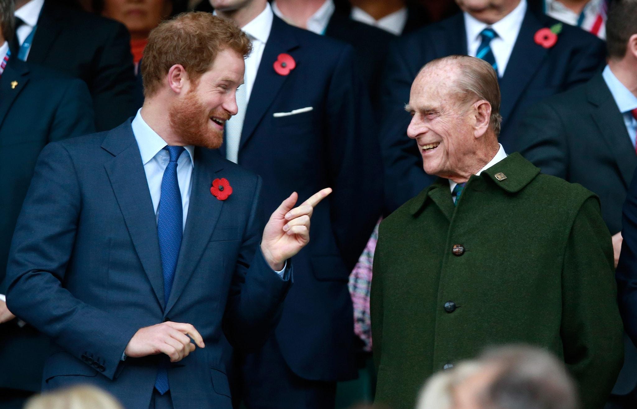 Harry con il nonno Filippo nel 2015