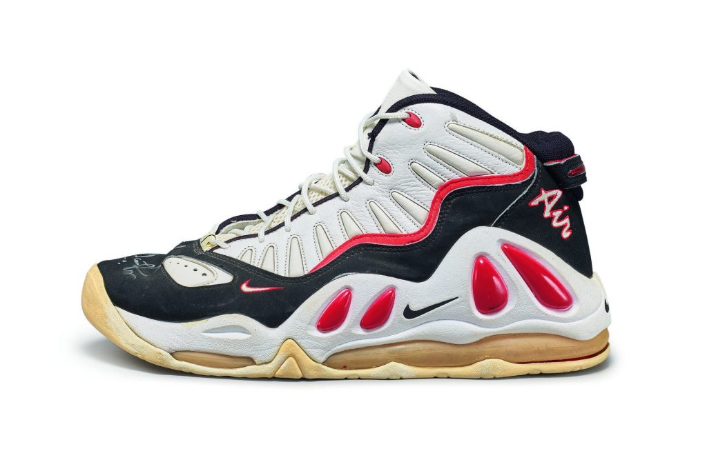 Nike Scottie Pippen Game Worn Dual Signed Air Max Uptempo III Player Exclusive Sample, via Sotheby's