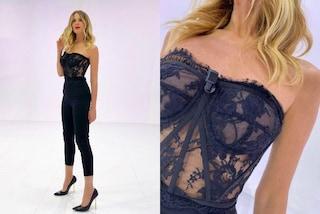 Nude look per Alessia Marcuzzi: torna a Le Iene e spopola col corsetto in pizzo