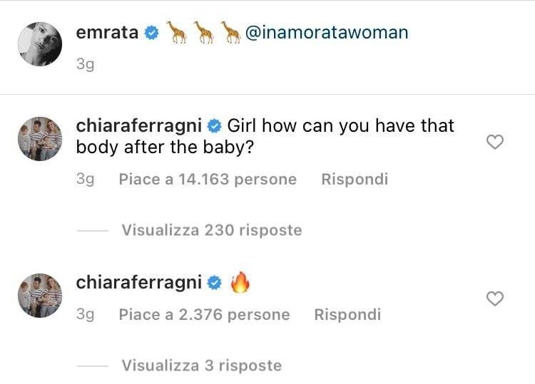 I commenti di Chiara Ferragni