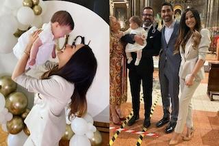 Giorgia Palmas, il battesimo della piccola Mia è in bianco: mamma e figlia adorabili in coordinato