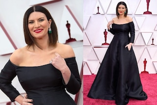 Laura Pausini in nero agli Oscar 2021: 500 ore di lavoro per il look e orecchini preziosi con smeraldi