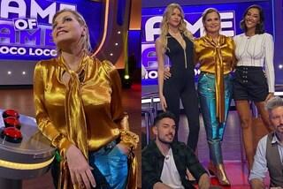 Simona Ventura a Game of Games: sceglie il look olografico col pantalone che cambia colore