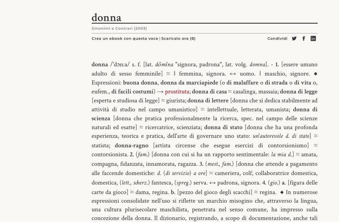 """La pagina online della Treccani dedicata alla parola """"donna"""""""