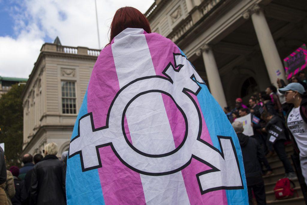 La bandiera con i colori e il simbolo delle persone trans