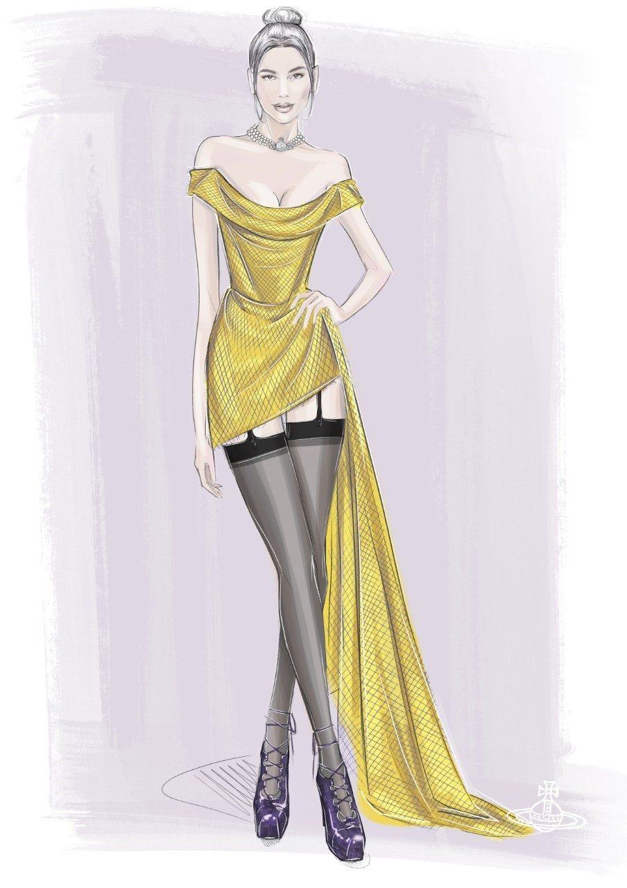 Il bozzetto dell'abito di Vivienne Westwood