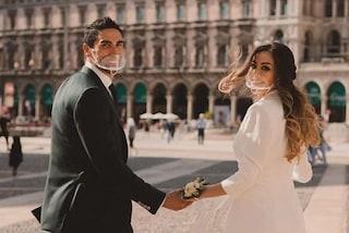 Giorgia Palmas sposa con la mascherina: la dolce foto del matrimonio ai tempi del Covid-19