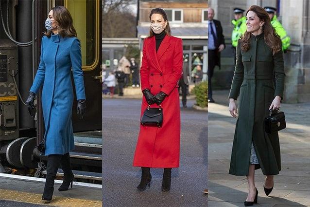 Kate Middleton con cappotti Catherine Walker (blu petrolio) e Alexander McQueen (rosso e verde)