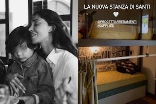 Belén Rodriguez mostra la nuova cameretta di Santiago: ha il letto a castello e un bagno privato