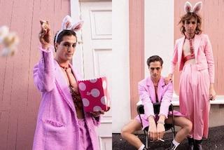 Damiano dei Maneskin in versione coniglietto: la band segue la tendenza dei look rosa